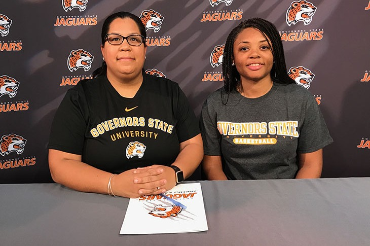 (L-R): GSU Assistant Coach Margoth Rodriguez and Tyisha Worthy