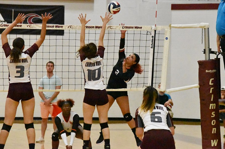 Alexis Gayton goes for the kill against the Crimson Wave.